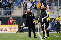 Philadelphia Union manager Peter Nowak. The Philadelphia Union and the Vancouver Whitecaps played to a 0-0 tie during a Major League Soccer (MLS) match at PPL Park in Chester, PA, on March 31, 2012.