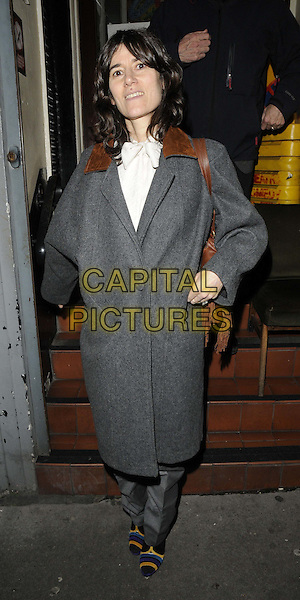Bella Freud.attended the press night performance of 'Old Times' Harold Pinter Theatre, Panton St., London, England, UK, .January 31st 2013..full length grey gray coat  trousers wool brown collar  white shirt .CAP/CAN.©Can Nguyen/Capital Pictures.
