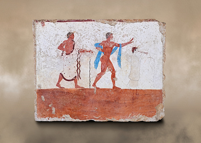 """Greek Fresco on the inside of Tomb of  the Diver  [La Tomba del Truffatore]. The dead man is depicted listenening to the flute of Eros which causes him to be distracted from the real world so being able to enter the next The tomb is painted with the true fresco technique and its importance lies in being """"the only example of Greek painting with figured scenes dating from the Orientalizing, Archaic, or Classical periods to survive in its entirety .Paestrum, Andriuolo.  (480-470 BC  )"""