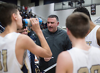NWA Democrat-Gazette/CHARLIE KAIJO Bentonville West High School head coach Greg White talks to his players during a basketball game, Friday, January 11, 2019 at Wolverine Arena at Bentonville West in Centerton.