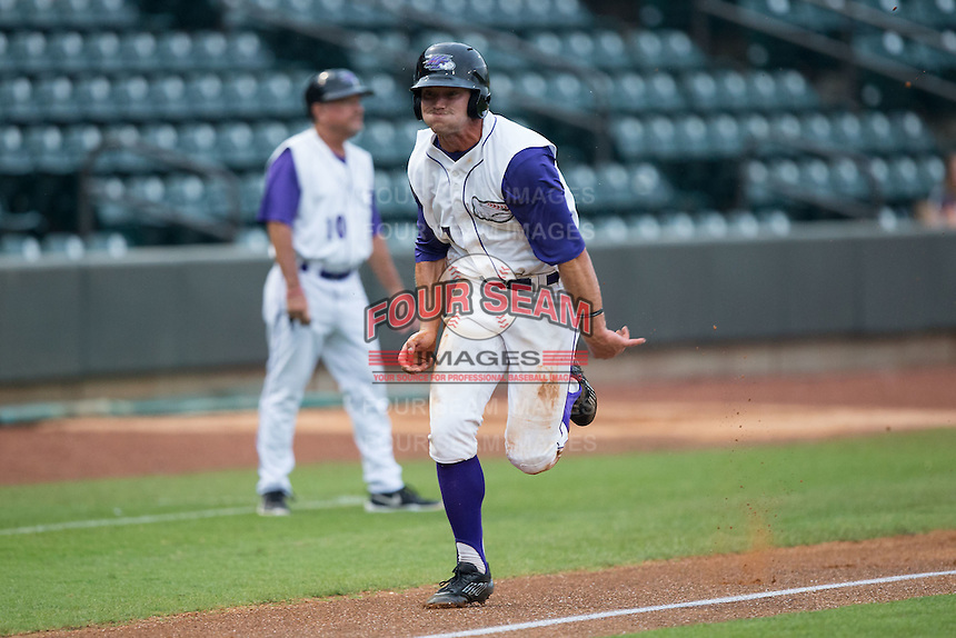 Adam Engel (7) of the Winston-Salem Dash hustles towards home plate against the Carolina Mudcats at BB&T Ballpark on July 23, 2015 in Winston-Salem, North Carolina.  The Dash defeated the Mudcats 3-2.  (Brian Westerholt/Four Seam Images)