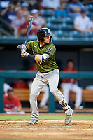 Biloxi Shuckers shortstop Jake Hager (2) at bat during a game against the Jacksonville Jumbo Shrimp on June 8, 2018 at Baseball Grounds of Jacksonville in Jacksonville, Florida.  Biloxi defeated Jacksonville 5-3.  (Mike Janes/Four Seam Images)