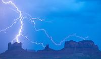 LIghtning striking Monument Valley, Utah  Monument Valley Tribal Park Navajo Reservation
