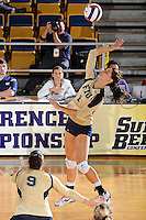 17 November 2011:  FIU middle blocker Andrea Lakovic (1) hits a kill shot in the second set as the FIU Golden Panthers defeated the Denver University Pioneers, 3-1 (25-21, 23-25, 25-21, 25-18), in the first round of the Sun Belt Conference Tournament at U.S Century Bank Arena in Miami, Florida.