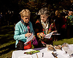 October 26, 2017. Raleigh, North Carolina.<br /> <br /> (L to R) Millie Herget and Susan Gilbert look over information sheets about the new gardens.<br /> <br /> A new garden designed by Ben Skelton containing native Plants For Birds was dedicated at the North Carolina Executive Mansion.