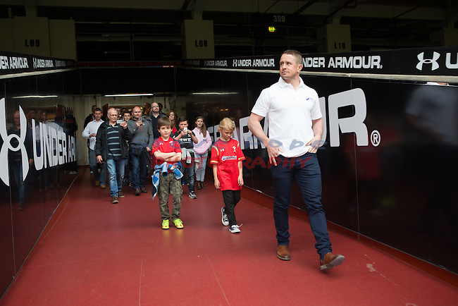 SSE Swalec competition winners tour of Principality Stadium with Shane Williams.<br /> 21.04.16<br /> &copy;Steve Pope - Fotowales