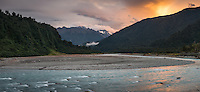 Whataroa River and sunset over Southern Alps, South Westland, West Coast, New Zealand, NZ