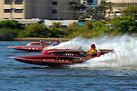 "Dick Whyte, GP-115 ""Scorpio"" (2007 Lauterbach Grand Prix hydroplane) and Roger LaPierre, GP-1001 ""Miss Dinomytes"" (1986 Grand Prix class Lauterbach hydroplane)"
