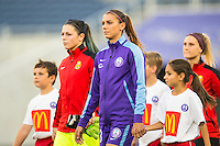 Orlando, Florida - Sunday, May 14, 2016: Orlando Pride forward Alex Morgan (13) enters the field during pre-game ceremony of a National Women's Soccer League match between Orlando Pride and New York Flash at Camping World Stadium.