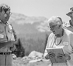 "Tuolumne Meadows, August 24, 1985:  Dr. Michael Adams and his mother Virginia Best Adams.  Mount Ansel Adams, an 11,700 foot peak in a remote section of Yosemite National Park was dedicated Saturday, August 24, 1985, in a ceremony recognizing the famed photographer for his contribution to the American conservation movement. Adams was eulogized as a man who dedicated his life to photography and the preservation of planet Earth. The dedication ceremony was led by Adams' son, Dr. Michael Adams of Fresno, and attended by Adams' widow, Virginia Adams, Secretary of the Interior Donald Hodel, Sen. Alan Cranston, D-California, National Park Service Director William Penn Mott, actor Robert Redford, and other environmental and conservation leaders. In 1932, Ansel Adams and several Sierra Club companions first climbed the peak, according to Virginia Adams, who added that ""Ansel loved its tower shape. He called it 'The Tower' on the Lyell Fork of the Merced River. After they came down from climbing it, they sat around the campfire and one of them suggested that they name it Mount Ansel Adams."" Informally, that is what the Sierra Club did, calling the peak Mount Ansel Adams in the Sierra Club Guide until 53 years later the peak was finally officially named.  Photo by Al Golub/Golub Photography"
