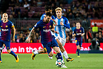 Lionel Andres Messi (l) of FC Barcelona fights for the ball with Roberto Jose Rosales Altuve of Malaga CF during the La Liga 2017-18 match between FC Barcelona and Malaga CF at Camp Nou on 21 October 2017 in Barcelona, Spain. Photo by Vicens Gimenez / Power Sport Images