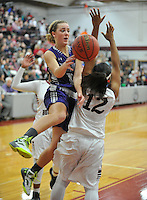 NWA Democrat-Gazette/MICHAEL WOODS &bull; @NWAMICHAELW<br /> Fayetteville's Grace Spangler (3) tries to drive to the hoop past Springdale defender Maya Hood (12) Friday, January 15, 2016 during their game at Springdale High School.