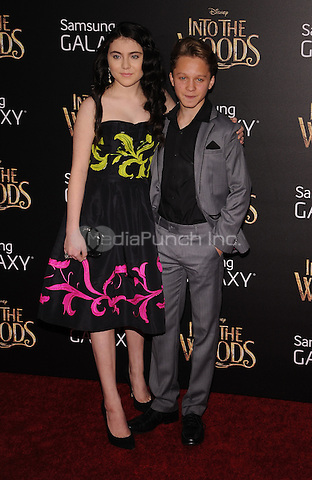 New York,NY-December 8: Lilla Crawford, Daniel Huttlestone Attends the 'Into The Woods' world premiere at the Ziegfeld Theater on December 8, 2014. Credit: John Palmer/MediaPunch