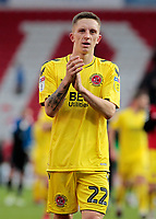 Fleetwood Town's Ashley Hunter applauds the fans at the final whistle <br /> <br /> Photographer David Shipman/CameraSport<br /> <br /> The EFL Sky Bet League One - Doncaster Rovers v Fleetwood Town - Saturday 6th October 2018 - Keepmoat Stadium - Doncaster<br /> <br /> World Copyright © 2018 CameraSport. All rights reserved. 43 Linden Ave. Countesthorpe. Leicester. England. LE8 5PG - Tel: +44 (0) 116 277 4147 - admin@camerasport.com - www.camerasport.com