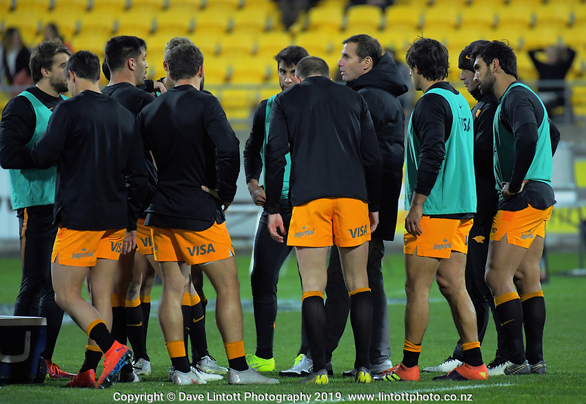 The Jaguares huddle before the Super Rugby match between the Hurricanes and Jaguares at Westpac Stadium in Wellington, New Zealand on Friday, 17 May 2019. Photo: Dave Lintott / lintottphoto.co.nz