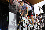 Bauke Mollema (NED) Trek-Segafredo team on stage at the Team Presentation in Burgplatz Dusseldorf before the 104th edition of the Tour de France 2017, Dusseldorf, Germany. 29th June 2017.<br /> Picture: Eoin Clarke | Cyclefile<br /> <br /> <br /> All photos usage must carry mandatory copyright credit (&copy; Cyclefile | Eoin Clarke)