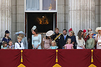 Camilla Duchess of Cornwall, Catherine Duchess of Cambridge, Meghan Duchess of Sussex, Prince Harry on the balcony at Buckingham Palace., London, England, UK for Trooping the Colour, June 09, 2018.<br /> CAP/GOL<br /> &copy;GOL/Capital Pictures