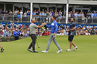 Andy Sullivan (ENG) and Bernd Wiesberger (AUT) finish on the 18th green during Sunday's Final Round of the Dubai Duty Free Irish Open 2019, held at Lahinch Golf Club, Lahinch, Ireland. 7th July 2019.<br /> Picture: Eoin Clarke | Golffile<br /> <br /> <br /> All photos usage must carry mandatory copyright credit (© Golffile | Eoin Clarke)