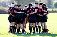 The Manukura team huddles before the Central North Island 1st XV rugby union match between Feilding High School and Manukura at Feilding High School in Feilding, New Zealand on Wednesday, 27 June 2018. Photo: Dave Lintott / lintottphoto.co.nz