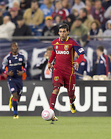 Real Salt Lake midfielder Javier Morales (11) dribbles. Real Salt Lake defeated the New England Revolution, 2-1, at Gillette Stadium on October 2, 2010.