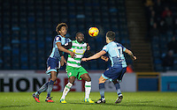 Sido Jombati (left) of Wycombe Wanderers & Francois Zoko of Yeovil Town during the Sky Bet League 2 match between Wycombe Wanderers and Yeovil Town at Adams Park, High Wycombe, England on 14 January 2017. Photo by Andy Rowland / PRiME Media Images.
