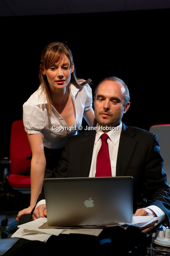 ". London UK. 19/04/2011. ""Sold"", by Suzie Miller, opens at theatre503, London. Picture shows Kate Copeland (as Jen/Liina) and Henry Everett (as Anthony). Photo credit should read: JANE HOBSON"