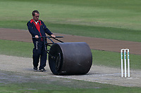 The roller is used between innings during Lancashire CCC vs Essex CCC, Specsavers County Championship Division 1 Cricket at Emirates Old Trafford on 11th June 2018