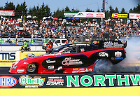 Aug. 3, 2014; Kent, WA, USA; NHRA funny car driver Gary Densham during the Northwest Nationals at Pacific Raceways. Mandatory Credit: Mark J. Rebilas-