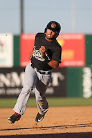 Jamie Westbrook (6) of the Visalia Rawhide runs the bases during a game against the Lancaster JetHawks at The Hanger on June 16, 2015 in Lancaster, California. Lancaster defeated Visalia, 11-3. (Larry Goren/Four Seam Images)