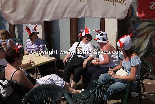 Lady English football fans, Southend on Sea, Essex. England. 2006