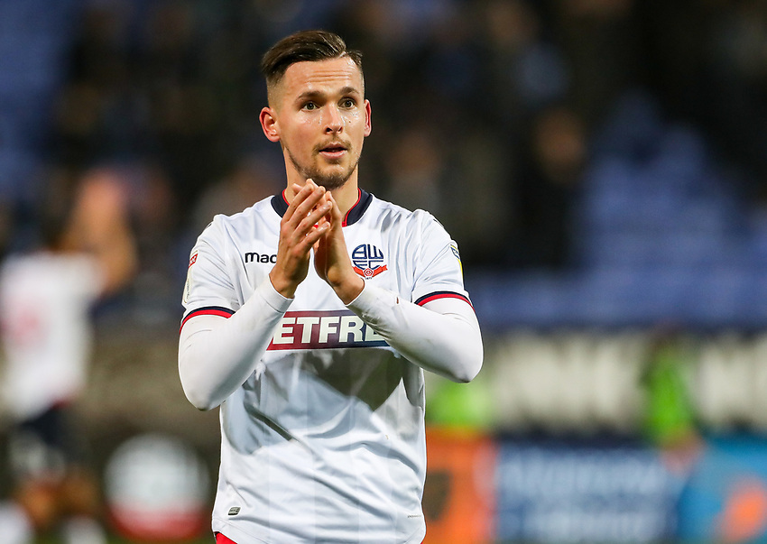Bolton Wanderers' Pawel Olkowski applauds the crowd at the end of the match<br /> <br /> Photographer Andrew Kearns/CameraSport<br /> <br /> The EFL Sky Bet Championship - Bolton Wanderers v Rotherham United - Wednesday 26th December 2018 - University of Bolton Stadium - Bolton<br /> <br /> World Copyright © 2018 CameraSport. All rights reserved. 43 Linden Ave. Countesthorpe. Leicester. England. LE8 5PG - Tel: +44 (0) 116 277 4147 - admin@camerasport.com - www.camerasport.com