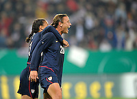 Shannon Boxx and Abby Wambach celebrate Abby's goal. US Women's National Team defeated Germany 1-0 at Impuls Arena in Augsburg, Germany on October 29, 2009.