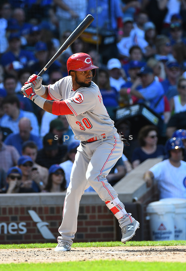 CHICAGO IL - May 18, 2017: Arismendy Alcantara #30 of the Cincinnati Reds during a game against the Chicago Cubs on May 18, 2017 at Wrigley Field in Chicago, IL. The Cubs beat the Reds 9-5.(David Durochik/ SportPics)