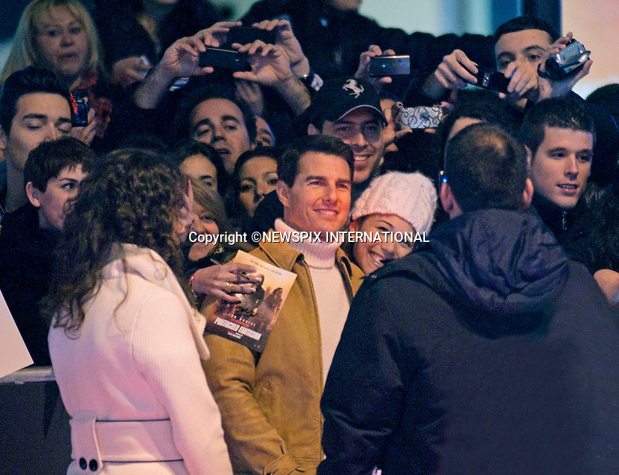 "TOM CRUISE.attends the premiere of his latest film 'Mission: Impossible - Ghost Protocol'Madrid, Spain_12/12/2011.Mandatory Credit Photo: ©NEWSPIX INTERNATIONAL..                 **ALL FEES PAYABLE TO: ""NEWSPIX INTERNATIONAL""**..IMMEDIATE CONFIRMATION OF USAGE REQUIRED:.Newspix International, 31 Chinnery Hill, Bishop's Stortford, ENGLAND CM23 3PS.Tel:+441279 324672  ; Fax: +441279656877.Mobile:  07775681153.e-mail: info@newspixinternational.co.uk"