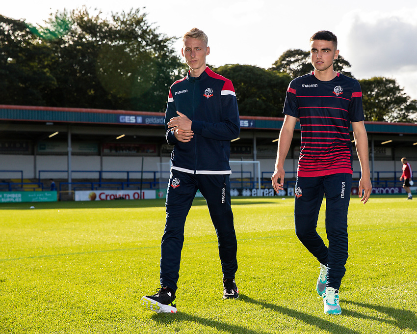 Bolton Wanderers' James Weir and Finlay Hurford-Lockett inspecting the pitch before the match<br /> <br /> Photographer Andrew Kearns/CameraSport<br /> <br /> The Carabao Cup First Round - Rochdale v Bolton Wanderers - Tuesday 13th August 2019 - Spotland Stadium - Rochdale<br />  <br /> World Copyright © 2019 CameraSport. All rights reserved. 43 Linden Ave. Countesthorpe. Leicester. England. LE8 5PG - Tel: +44 (0) 116 277 4147 - admin@camerasport.com - www.camerasport.com