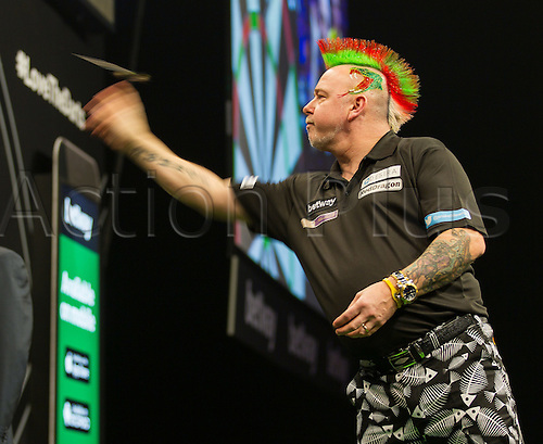 31.03.2016. The Motorpoint Arena, Cardiff.  Betway PDC Premier League Darts Judgement Night. Peter Wright in action tonight