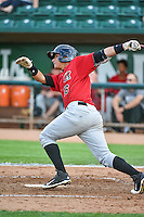 Victor Velasquez (16) of the Great Falls Voyagers at bat against the Ogden Raptors in Pioneer League action at Lindquist Field on July 16, 2015 in Ogden, Utah. Ogden defeated Great Falls 5-2. (Stephen Smith/Four Seam Images)