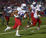Reno's #10 Brandon Kaho runs against Galena in their football game played on Friday night Sept. 16, 2016 at Galena High School.