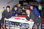Kenmare driver Vincent O Shea and Navigator Brian Hickey with their crew getting prepared for the final stage at the Killarney Historic Rally in Killarney on Saturday l-r: Vincent O'Shea, Danny O'Shea, Mike Wharton, Brian Hickey and Diarmuid Quill all Kenmare