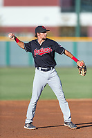AZL Indians 1 third baseman Daniel Schneemann (15) during an Arizona League game against the AZL Cubs 1 at Sloan Park on August 27, 2018 in Mesa, Arizona. The AZL Cubs 1 defeated the AZL Indians 1 by a score of 3-2. (Zachary Lucy/Four Seam Images)
