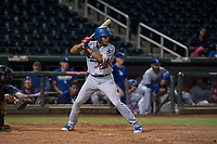 AZL Dodgers third baseman Leonel Valera (23) at bat during an Arizona League game against the AZL Indians 2 at Goodyear Ballpark on July 12, 2018 in Goodyear, Arizona. The AZL Indians 2 defeated the AZL Dodgers 2-1. (Zachary Lucy/Four Seam Images)