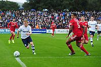 Preston North End's Daryl Horgan under pressure from Accrington Stanley's Ben Richards-Everton<br /> <br /> Photographer Kevin Barnes/CameraSport<br /> <br /> The Carabao Cup - Accrington Stanley v Preston North End - Tuesday 8th August 2017 - Crown Ground - Accrington<br />  <br /> World Copyright &copy; 2017 CameraSport. All rights reserved. 43 Linden Ave. Countesthorpe. Leicester. England. LE8 5PG - Tel: +44 (0) 116 277 4147 - admin@camerasport.com - www.camerasport.com