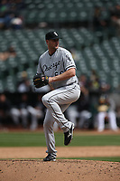 OAKLAND, CA - APRIL 18:  Chris Volstad #66 of the Chicago White Sox pitches against the Oakland Athletics during the game at the Oakland Coliseum on Wednesday, April 18, 2018 in Oakland, California. (Photo by Brad Mangin)