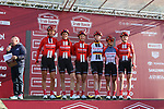 Team Sunweb at sign on before the Strade Bianche Women Elite 2019 running 133km from Siena to Siena, held over the white gravel roads of Tuscany, Italy. 9th March 2019.<br /> Picture: Seamus Yore | Cyclefile<br /> <br /> <br /> All photos usage must carry mandatory copyright credit (© Cyclefile | Seamus Yore)
