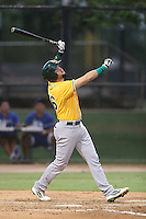 Michael Soto of the AZL Athletics bats against the AZL Dodgers at Camelback Ranch on July 12, 2014 in Glendale, Arizona. AZL Athletics defeated the AZL Dodgers, 3-2. (Larry Goren/Four Seam Images)