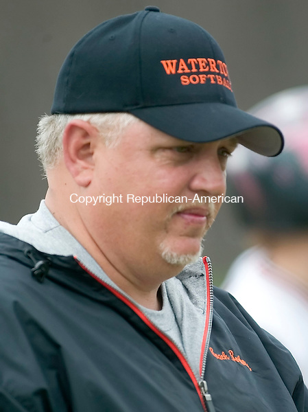 BEACON FALLS, CT -17 APRIL 2006 -040806JT07--<br /> Watertown Softball Coach Keith Borkowski at the April 17 game against Woodland at Woodland.<br /> Josalee Thrift Republican-American