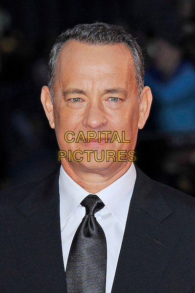 Tom Hanks<br /> attending the 57th BFI London Film Festival Closing Night Gala World Premiere of 'Saving Mr Banks', Odeon Cinema, Leicester Square, London, England. <br /> 20th October 2013<br /> headshot portrait black suit tie white shirt <br /> CAP/MAR<br /> &copy; Martin Harris/Capital Pictures