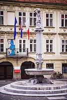 Ljubljana. Fountain and graffiti in Stari Trg Square, a cobbled square in Ljubljana Old Town, Slovenia, Europe
