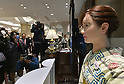 April 20, 2015, Tokyo, Japan. Clad in traditional kimono,  Aiko Chihara makes her debut at the information desk of Tokyo's upscale Mitsukoshi department store on Monday, April 20, 2015. Aiko, a humanoid robot made by Toshiba, smiles and bows to customers and offers six-minute guidance with information about the prestedious store including events.  (Photo by Natsuki Sakai/AFLO)