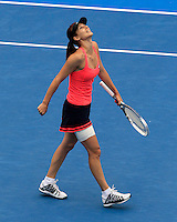 Tsvetana Pironkova of Bulgaria reacts after defeating Petra Kvitova of Czech Republic during their semi-final match at the Sydney International tennis tournament, Jan. 9, 2014.  Daniel Munoz/Viewpress IMAGE RESTRICTED TO EDITORIAL USE ONLY